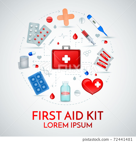 First Aid Realistic Composition 72441481