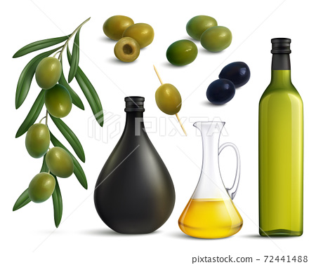 Olives And Oil Realistic Set 72441488