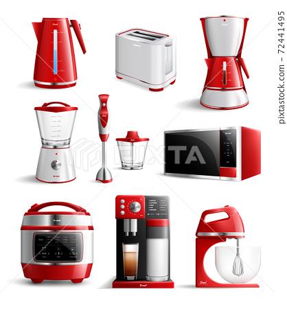 Realistic Household Kitchen Appliances Icon Set 72441495