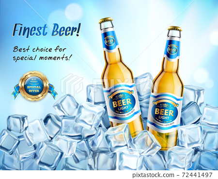 Realistic Light Beer AD Poster 72441497