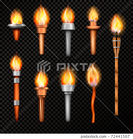 Fire Torch Realistic Set 72441507