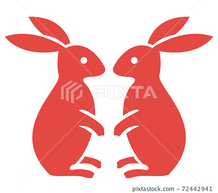 Japanese style vector a pair of rabbit 72442941