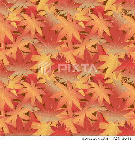 Japanese style retro vintage seamless pattern background Autumn botanic garden maple leaf 72443043