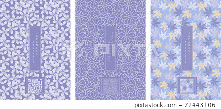 Oriental Japanese style abstract seamless pattern background design purple lavender color flower and maple leaf 72443106