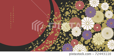Oriental Japanese style abstract pattern background design luxury colorful flower 72443110