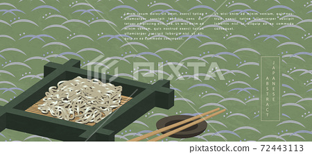 Oriental Japanese style abstract pattern background design traditional food soba cold noodle and chopsticks 72443113
