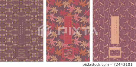 Oriental Japanese style abstract pattern background design geometry wave move dot line and maple leaf dragonfly 72443181
