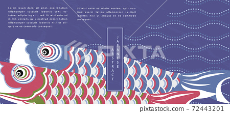 Oriental Japanese style abstract pattern background design traditional koinobori fish flag and curve wave dot line backdrop 72443201
