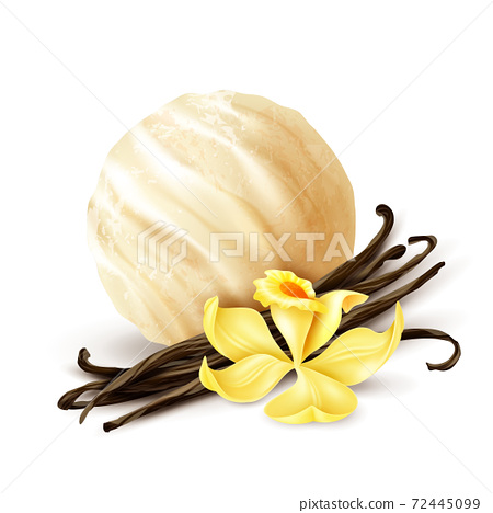 Vanilla Ice Cream Scoop Realistic 72445099