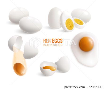 Realistic Hen Eggs Icon Set 72445116