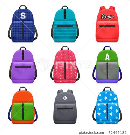 Realistic School Backpacks Set 72445123
