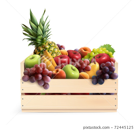 Fruits In Box Realistic Composition 72445125