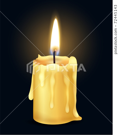 Realistic Burning Candle Flame Fire Light Composition 72445143