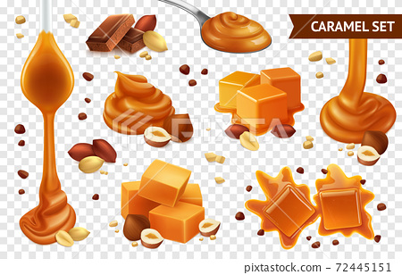 Realistic Caramel Chocolate Nut Icon Set 72445151