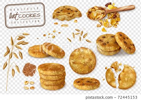 Oat Cookies Transparent Set 72445153