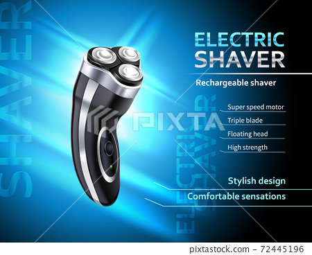 Realistic Electric Shaver Advertising Poster 72445196
