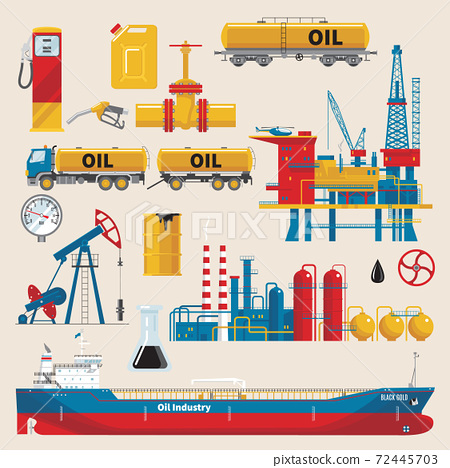 Oil Industry Decorative Icons Set 72445703