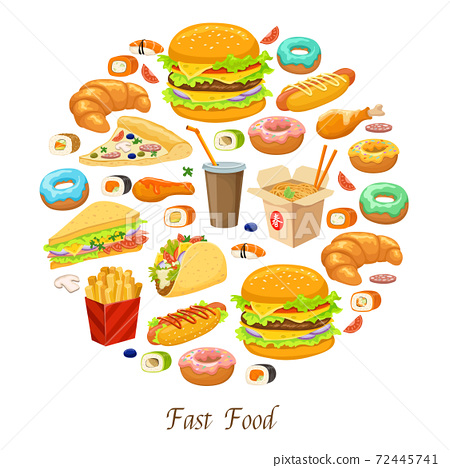 Fast Food Round Composition 72445741