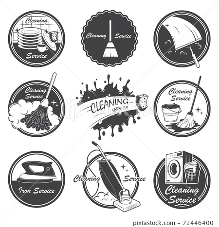 Set of cleaning service emblems, labels and designed elements. 72446400