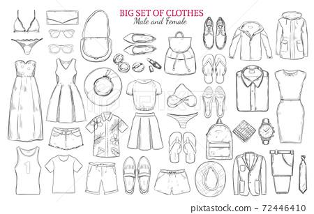 Sketch Monochrome Clothes Icons Set 72446410
