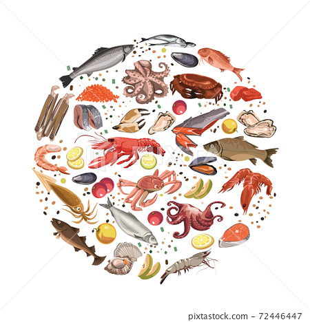 Colorful Sketch Seafood Products Round Concept 72446447