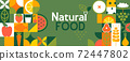 Natural food banner in flat style. 72447802