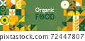 Organic food banner in flat style. 72447807
