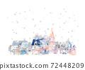 Romantic cityscape, snowy city 72448209