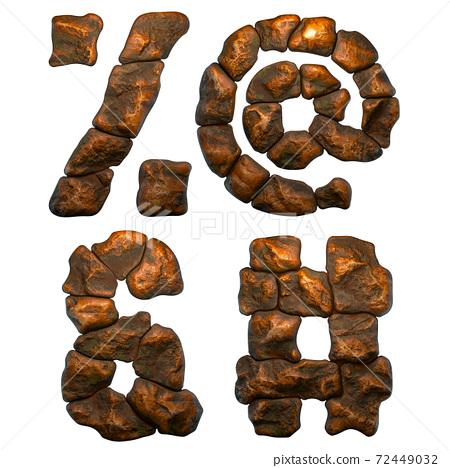 Set of rocky symbols percent, at, ampersand, hash. Font of stone on white background. 3d 72449032