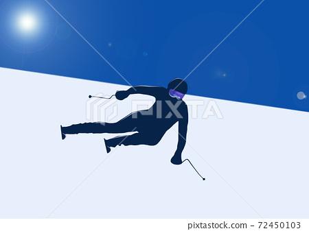 滑雪滑翔剪影圖 72450103