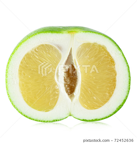 Half Citrus Sweetie or Pomelit, oroblanco isolated on white background close-up. 72452636