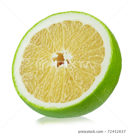 Half Citrus Sweetie or Pomelit, oroblanco isolated on white background close-up. 72452637