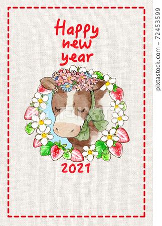 水彩碗新年賀卡插圖草莓花圈和牛 72453599
