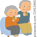 Elderly people sitting on the sofa and drinking Japanese tea. Grandfather and grandmother. 72453965