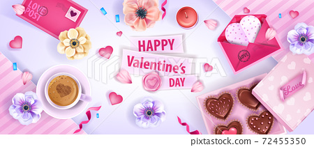 Happy Valentines Day vector top view background with anemones flowers, envelopes, cookies, coffee cup.  72455350
