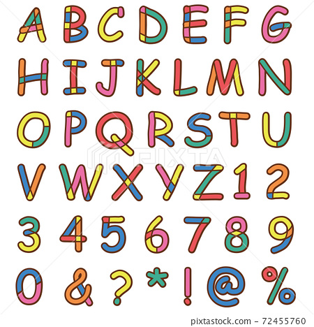 Colorful typeface alphabet illustration 72455760