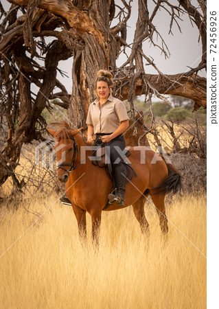 Blonde on horseback by twisted dead tree 72456926