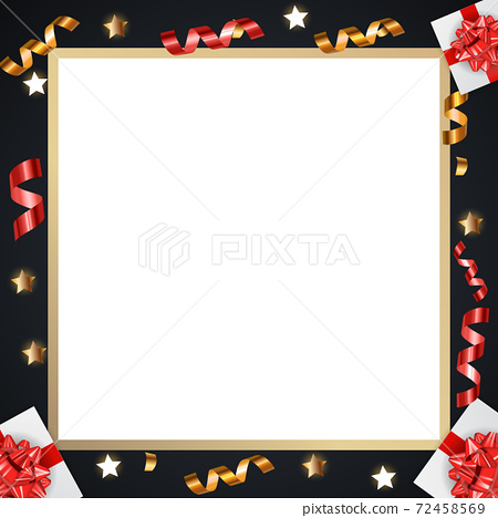 Abstract Golden Glossy Frame background with gifts and tinsel. Vector Illustration eps10. Square Template for social networks and messengers on white background. 72458569
