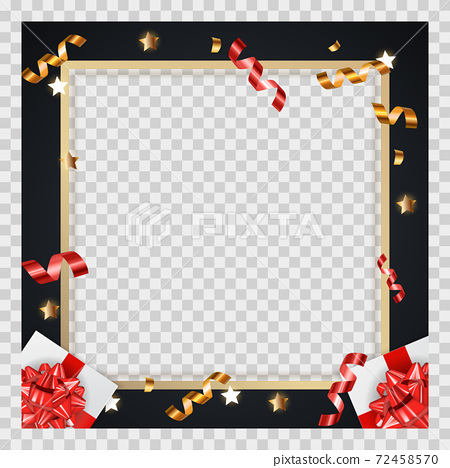 Abstract Golden Glossy Frame background with gifts and tinsel. Vector Illustration eps10. Square Template for social networks and messengers on a transparent background. 72458570