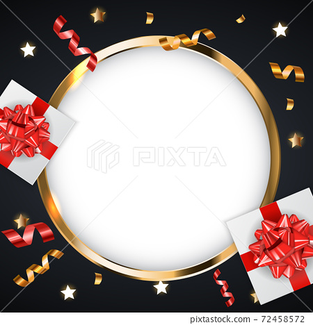 Abstract Golden Glossy Frame background with gifts and tinsel. Vector Illustration eps10. Square Template for social networks and messengers on white background. 72458572