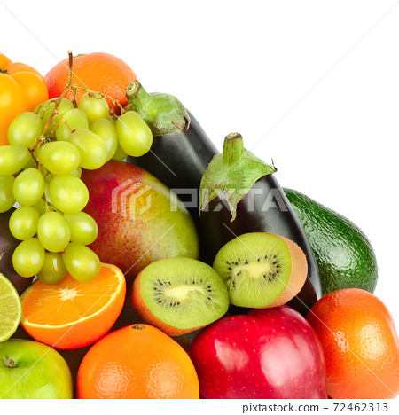 Fruits and vegetables isolated on white background. 72462313
