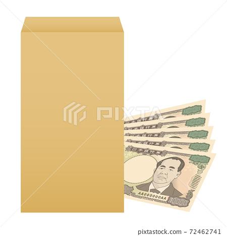 Image illustration of a new 10,000 yen bill Salary bag Salary Bonus Envelope bonus 72462741