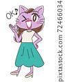 Beautiful OL female character of cat 72466034
