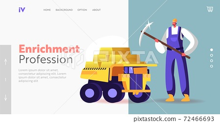 Gold Mining in Quarry with Transport, Technique Landing Page Template. Miner Character with Pickaxe Stand at Truck 72466693