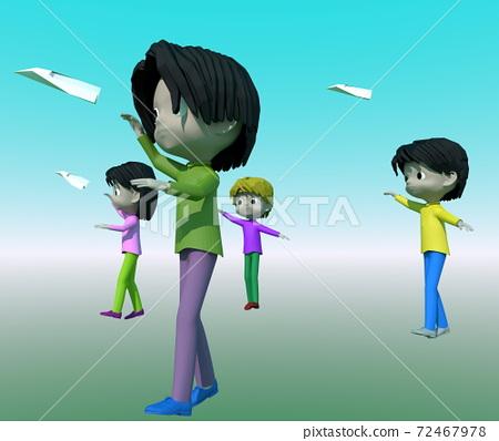 종이 비행기를 날리는 아이 72467978