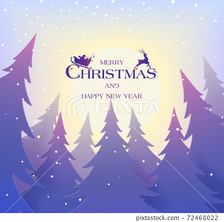 Christmas postcard with winter landscape with pine trees, and snowflakes. Santa flying in the sky with deers. 72468022