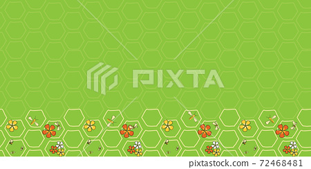 Buzz on Spring Border seamless vector repeat bees and flowers on honeycomb 72468481