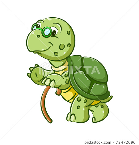 The old grandfather of the turtle is walking with the brown stick to get a step 72472696