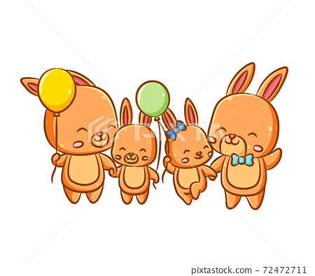 The happy family of the orange rabbits and their parents is holding the balloons in their hands 72472711