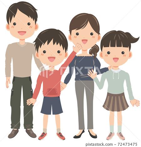 네 명의 가족 남녀 72473475